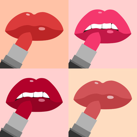 plump lips: Lips with lipstick flat icons set Illustration