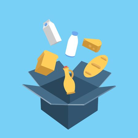 Shopping Box with Food. Flat vector concept
