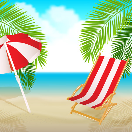 Seaside view with a palm tree, beach chair. Summer vacation concept background. Vector. Ilustracja