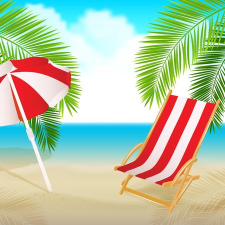 strandstoel: Zeezicht met een palmboom, strandstoel. Zomervakantie concept achtergrond. Vector.