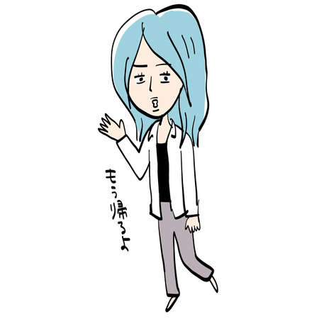 A woman with blue hair walks away. 일러스트