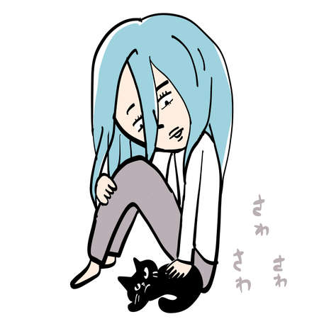 A woman with blue hair pats a black cat 일러스트