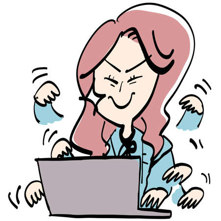 A woman who makes computer work exciting Illustration
