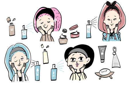 4 types of female facial skin care 일러스트