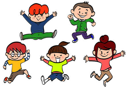 jumping patterns of energetic children with smile