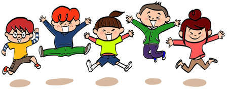 Illustration of  energetic children with smile