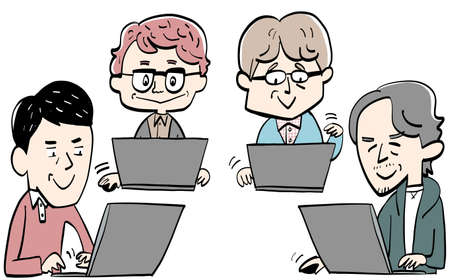 Middle-aged people working on computers 일러스트
