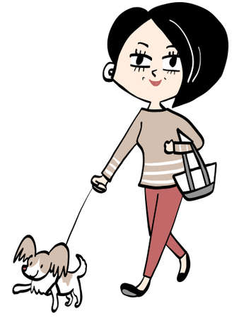 Middle Aged and Dog Walking