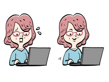 Senior women and computer work