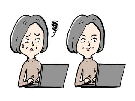 Senior women and computer work 일러스트