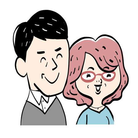 Illustration of a healthy senior couple 일러스트
