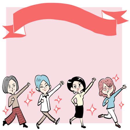 Four Senior Women Raise Their Firsts and Go! Ilustração