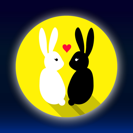 yang style: Rabbits lover on the moon vector illustration