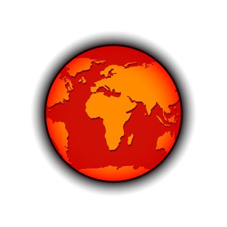 greenhouse gas: Global Warming Vector illustration Red Orange Globe Illustration