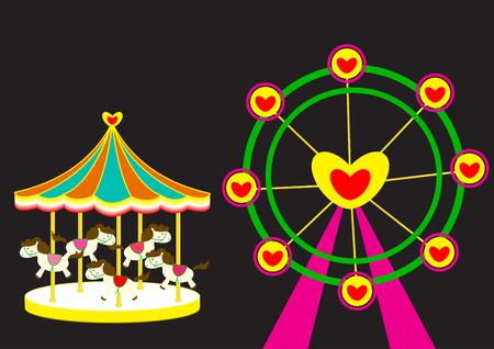 Carousel and Ferris wheel of love vector illustration Illustration