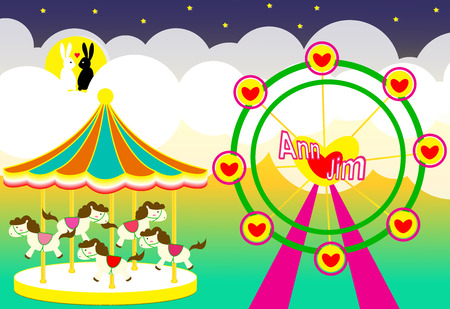 wedding backdrop: Amusement park wedding backdrop with carousel and ferris wheel and rabbits lover vector illustration Vectores