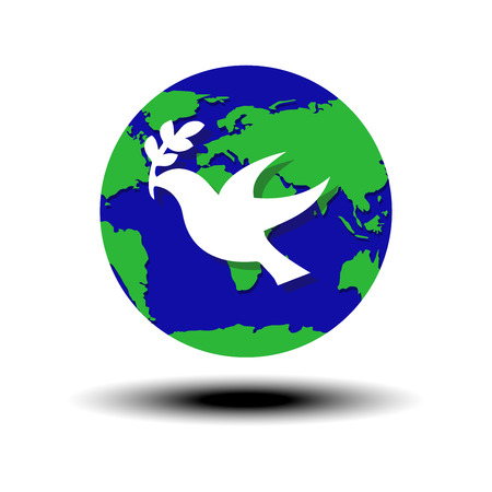 heaven and earth: world peace symbol globe with white dove and olive Vector illustration