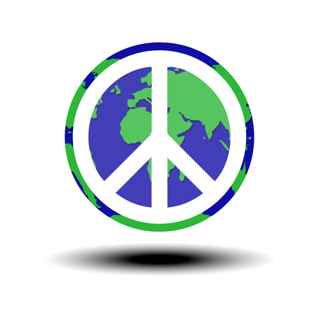 world peace: globe with world peace symbol Vector illustration Illustration