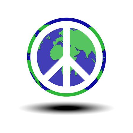 simbolo della pace: globo con il simbolo di pace nel mondo vettore