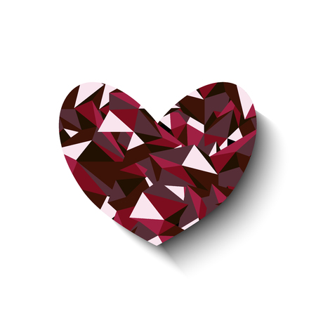 ruby: Heart Ruby Red Polygon Vector Illustration