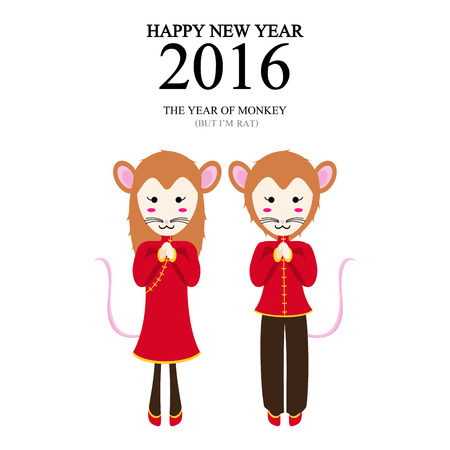 year of the rat: A vector illustration of year of monkey but im rat design for Chinese New Year celebration Illustration