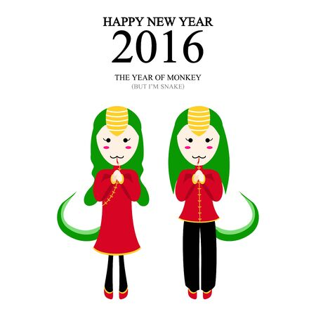 snake year: A vector illustration of year of monkey but im snake design for Chinese New Year celebration Illustration