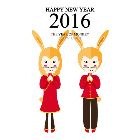 chinese new year rabbit: A vector illustration of year of monkey but im rabbit design for Chinese New Year celebration