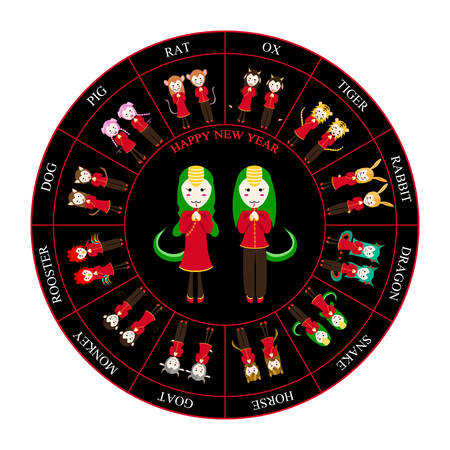 taoist: Chinese Zodiac Horoscope Wheel Snake Vector Illustration Illustration