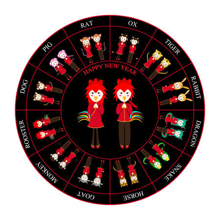 taoist: Chinese Zodiac Horoscope Wheel Rooster Vector Illustration Illustration