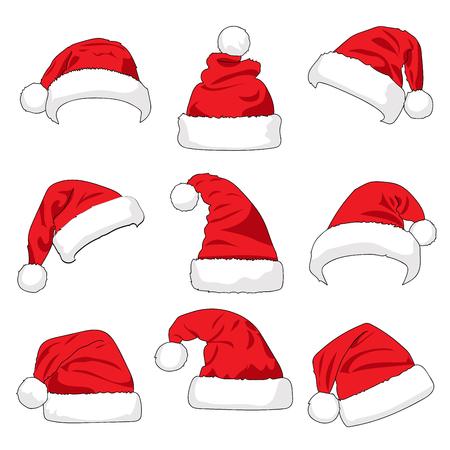 白い背景のベクトル図に分離されたサンタ クロースの赤い帽子のセット  イラスト・ベクター素材