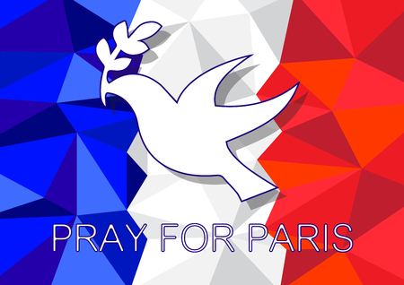 pray for: Pray for Paris with Dove Olive symbol Background vector illustration