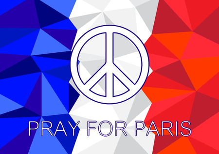 pray for: Pray for Paris with Peace symbol Background vector illustration Illustration