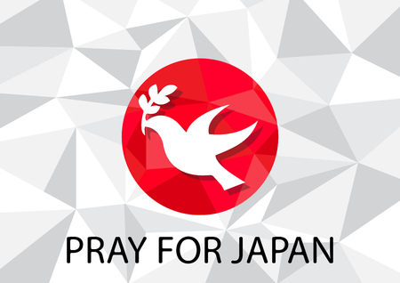 pray for: Pray for Japan with dove olive symbol Background vector illustration