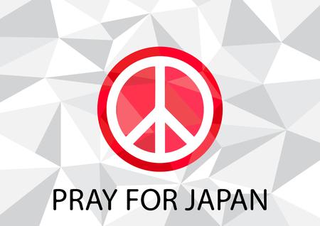 peace symbol: Pray for Japan with White Peace symbol Background vector illustration