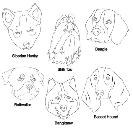 alaskan: Black White Dog Face Set : Siberian Husky, Shih Tzu, Beagle, Rottweiler, Bangkaew, Basset Hound Vector Illustration Illustration