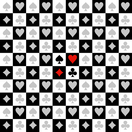 Card Suit Chess Board Black White Background Vector Illustration