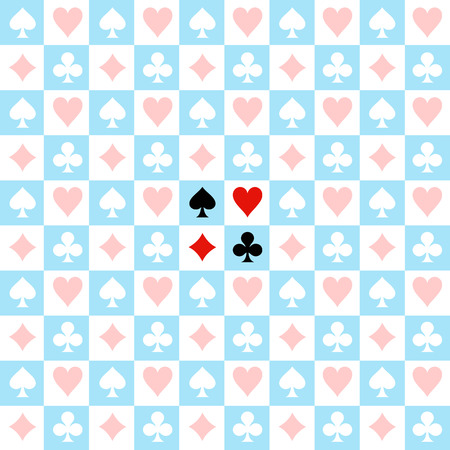 alice: Card Suit Chess Board Blue White Background Vector Illustration