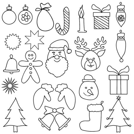 Christmas Ornament Drawing Set Black White