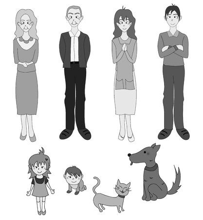 grandad: Three Generation Familys with Cat Dog in Gray. Drawing Illustration