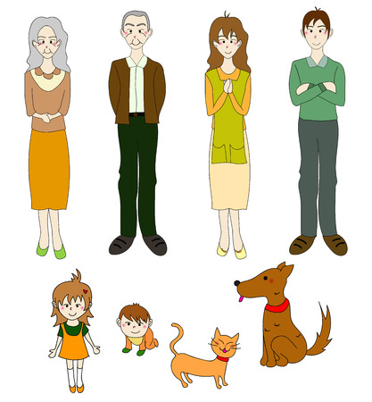grand sons: Three Generation Familys with Cat Dog in Color. Drawing Illustration Illustration