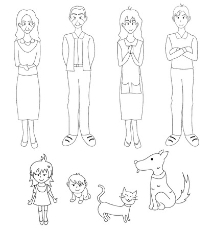 grand sons: Three Generation Familys with Cat Dog. Drawing Illustration