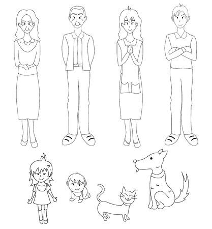 fullbody: Three Generation Familys with Cat Dog. Drawing Illustration