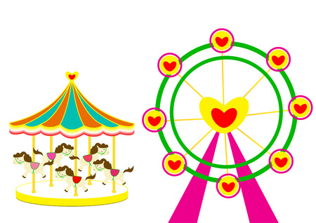 spin: Carousel and Ferris wheel of love vector illustration on white Background