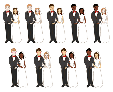 skin color: Bride and Groom Different skin color isolated on white background vector illustration