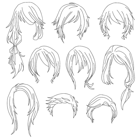 Hair styling for woman drawing Set 1. illustration isolated on white Background