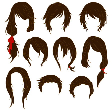 long black hair: Hair styling for woman drawing Brown Set 1. illustration isolated on white Background Illustration