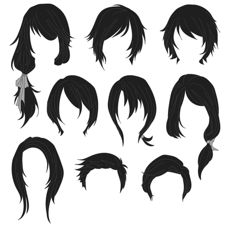 curly tail: Hair styling for woman drawing Black Set 1. illustration isolated on white Background