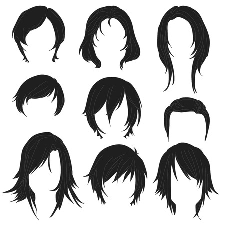 Hair styling for woman drawing Black Set 2. illustration isolated on white Background Illustration