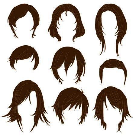 Haar styling voor vrouw het tekenen van Brown Set 2. illustratie geïsoleerd op een witte achtergrond
