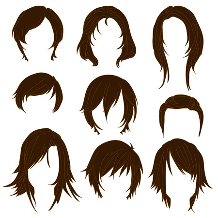 toupee: Hair styling for woman drawing Brown Set 2. illustration isolated on white Background Illustration